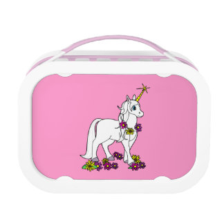 Unicorn with Flowers Pink Lunchbox