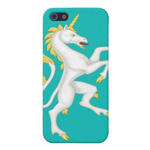 Unicorn with Golden Horn and Tail Cover For iPhone 5