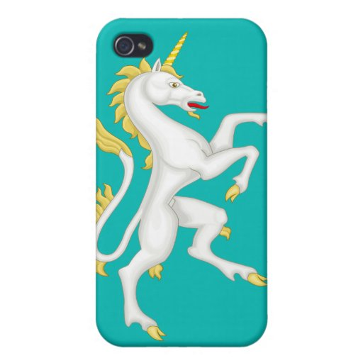 Unicorn with Golden Horn and Tail Cover For iPhone 4