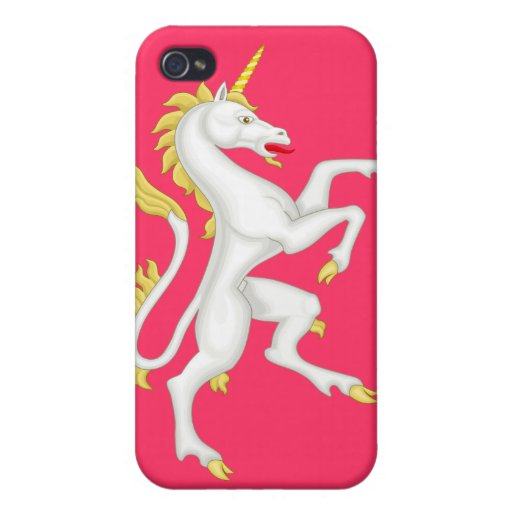 Unicorn with Golden Horn and Tail - Pink iPhone 4 Cases