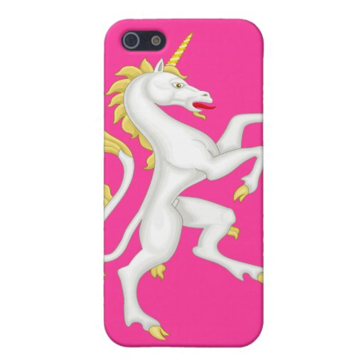 Unicorn with Golden Horn and Tail - Pink Cover For iPhone 5