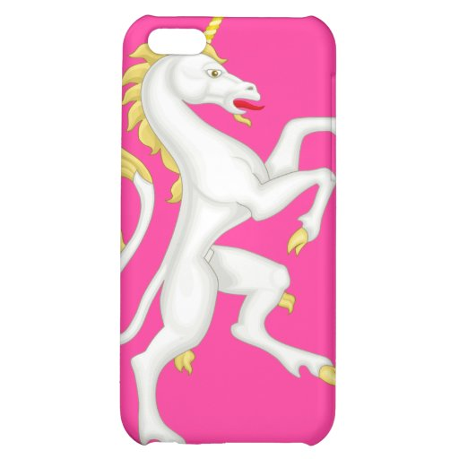 Unicorn with Golden Horn and Tail - Pink iPhone 5C Cases