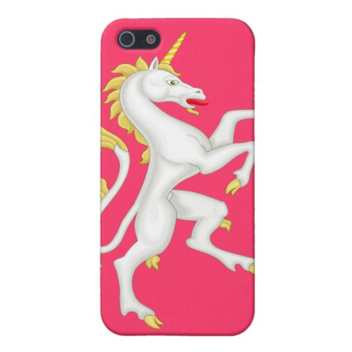 Unicorn with Golden Horn and Tail - Pink Case For iPhone 5