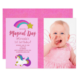 Unicorn with photo birthday party invitation