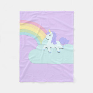 Unicorn with Rainbow Fleece Blanket