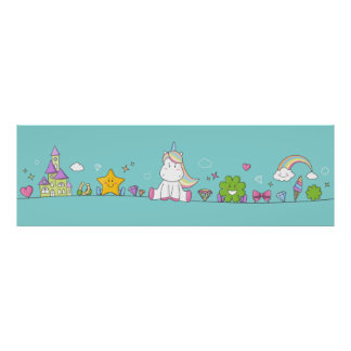 Unicorn with star, clovers and dia. moon poster