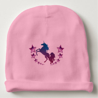 Unicorn with stars baby beanie