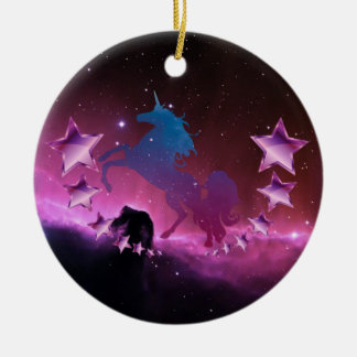 Unicorn with stars ceramic ornament
