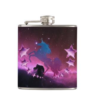 Unicorn with stars hip flask