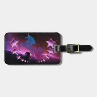 Unicorn with stars luggage tag