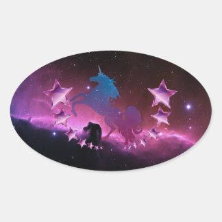 Unicorn with stars oval sticker