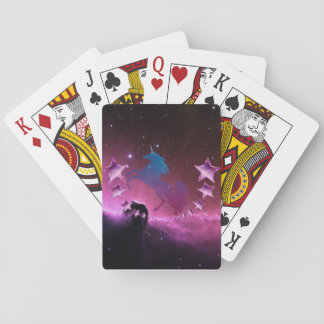 Unicorn with stars playing cards