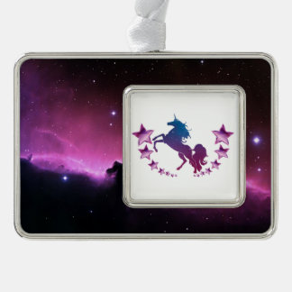 Unicorn with stars silver plated framed ornament
