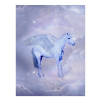 Unicorn with wings fantasy postcard