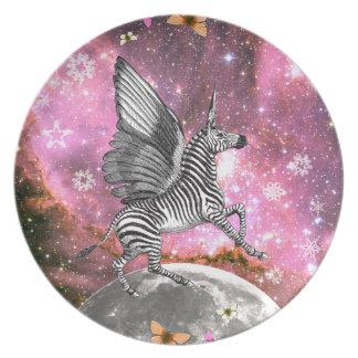 Unicorn Zebra Pegasus Plate