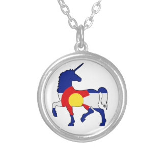 Unicorns and Colorado! Silver Plated Necklace