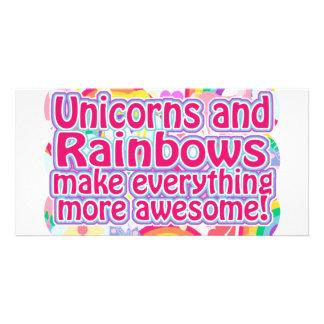 Unicorns and Rainbows Photo Greeting Card