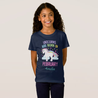 Unicorns are Born In February Personalized T-Shirt