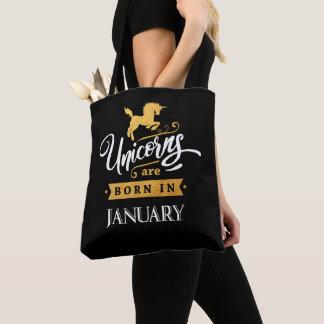 Unicorns are born in January - Calligraphy Art Tote Bag