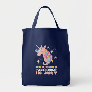 Unicorns Are Born In July Cute Birthday Girl Tote Bag