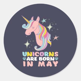 Unicorns Are Born In May Cute Birthday Girl Classic Round Sticker