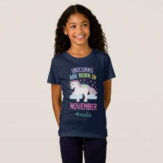 Unicorns are Born In November Personalized T-Shirt