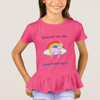 Unicorns are real girls ruffle shirt