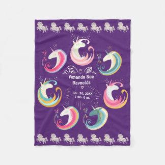 Unicorns Baby Keepsake (Change Colors) Fleece Blanket