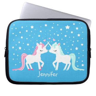 Unicorns in love laptop sleeve customisable