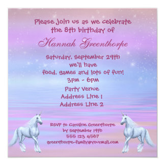 Unicorns Magical Fantasy Girls Birthday Party Card