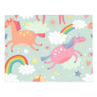 Unicorns & Rainbow Postcard