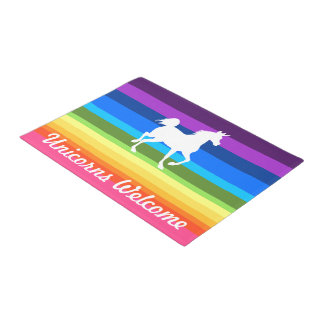 Unicorns Welcome Rainbow Doormat