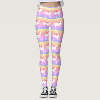 Unicorns Whimsical Sunset Print Leggings