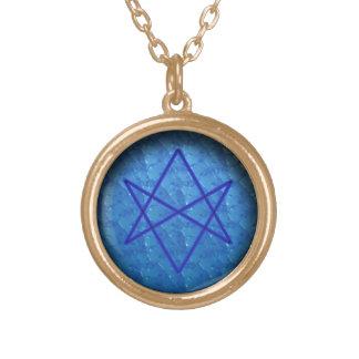 unicursal hexagram (water) round pendant necklace