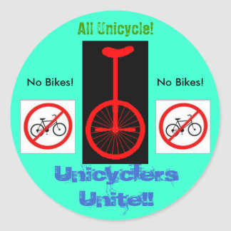 Unicyclers Unite Classic Round Sticker
