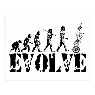 Unicycling Unicyclist Unicycle Evolution Sports Postcard