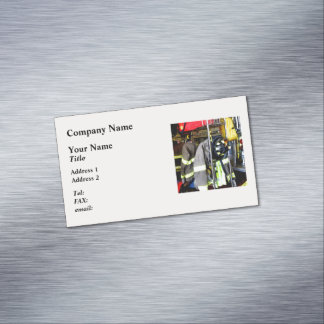 Uniforms Inside Firehouse Magnetic Business Cards