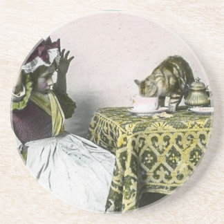 Uninvited Guest Bad Kitty Vintage Tea Party Girl Beverage Coasters