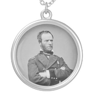 Union Army General William Tecumseh Sherman Silver Plated Necklace