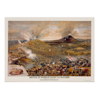 Union Assault During the Battle of Mission Ridge  Poster