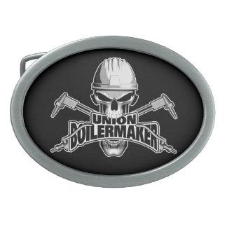 Union Boilermaker: Welding Skull Oval Belt Buckle