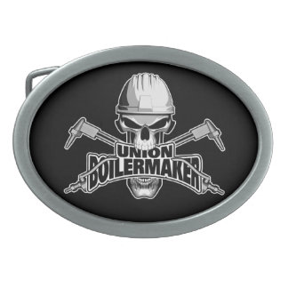 Union Boilermaker: Welding Skull Oval Belt Buckles