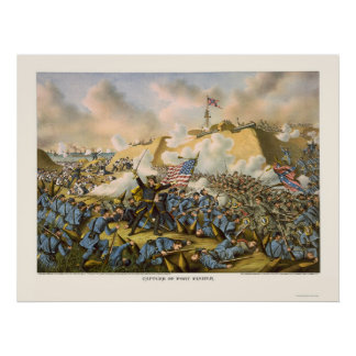 Union Captures Fort Fisher by Kurz & Allison 1865 Poster