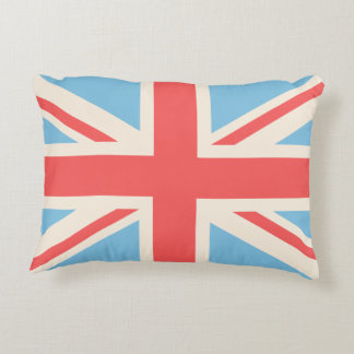 Union Flag/Jack Design Cream, Light Blue & Red Accent Cushion