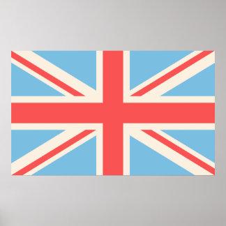 Union Flag/Jack Design Cream, Light Blue & Red Posters