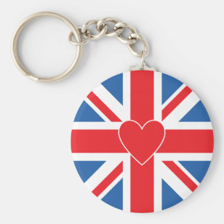 Union Flag/Jack Design & Heart Basic Round Button Key Ring