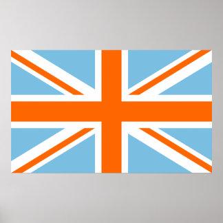 Union Flag/Jack Design Orange White & Blue Print