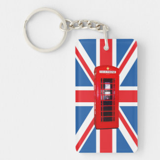 Union Flag/Jack & Phone Box Single-Sided Rectangular Acrylic Key Ring