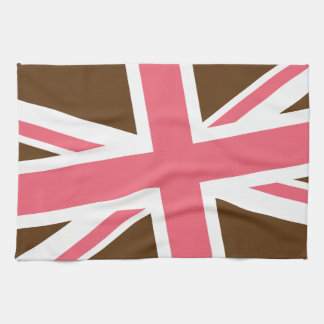 Union Flag Kitchen Towel (Brown/Pink)