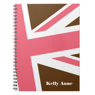 Union Flag Notebook (Brown/Pink) CUSTOMIZABLE